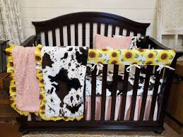 girl crib bedding sunflower and cow