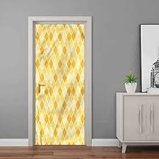 Amazon Com Quatrefoil Wall Decals Trellis In Yellow Door Murals Sticker Modern Art 36 W X 79 H Home Improvement