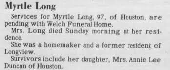 Myrtle Long death - Newspapers.com