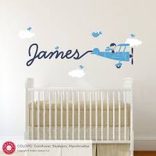 Airplane Name Wall Decal Boy Skywriter For Baby Nursery Kids Etsy Airplanes Wall Decals Boys Wall Decals Airplane Wall