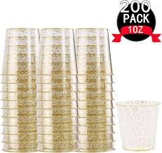 gold glitter plastic shot glasses