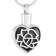 z312 silver lotus heart stainless steel