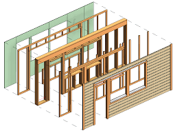 framing timber walls in revit model