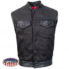 usa made denim and leather vest