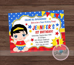 Wonder Woman Party Invitation Wonder Woman Baby Invitation Etsy