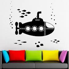Submarine Wall Decal Water World Shoal Of Fish Submarine Art Vinyl Window Stickers Kids Ocean Style Bedroom Bathroom Decor Q516 Wall Stickers Aliexpress