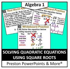 alg 1 solving quadratic equations
