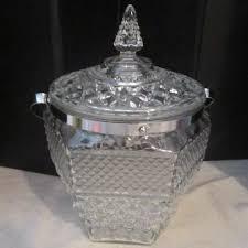glass ice bucket with handle and lid