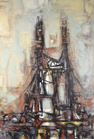 1955 Architectural Bridge Cubist Abstract Oil Painting Arthur ...
