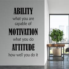 Ability Motivation Attitude Decal Office Wall Quote Break Room Decor Employee Motivation Vinyl Wall Lettering Vinyl Decals Wall Words Wish