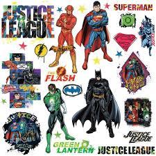 Dc Comics Justice League Peel Stick Vinyl Wall Decals Superman Batman Kids Room Decor Stickers Walmart Com Walmart Com