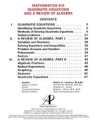 lifepac math grade 9 unit 10 quadratic