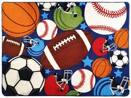 Amazon Com Huahoo Blue Kids Rug Fun Sport Rugs Nylon Carpet Boys Girls Childrens Rug Balls Print With Soccer Ball Basketball Football Tennis Ball Bedroom Playroom 51 X 75 Home Kitchen