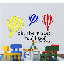 Decal Oh The Places You Ll Go Colored Balloons Wall Decal Dr Seuss Theme Home Decor 13 X 22 Walmart Com Walmart Com