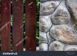 Stone Wood Fence Design Model Stock Photo Edit Now 651978250