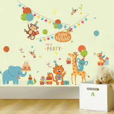 Cartoon Animals Birthday Party Wall Stickers For Kids Boys Girls Room Decor Air Balloon Cake Gift Party Wall Graphic Poster Wall Decals Wall Decor Stickers Quotes Wall Decor Tree Stickers From Magicforwall