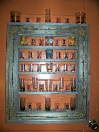shot glass display shelf rustic trimmed