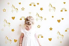 Amazon Com Unicorn Rainbow Star Heart Wall Decal Removable Vinyl Wall Stickers For Baby Kids Boys Girls Bedroom Nursery Decor A13 Dumb Gold Home Kitchen
