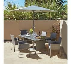 rattan effect grey 6 seater patio set
