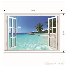 3d Beach Seascape Fake Windows View Wall Stickers Removable Faux Windows Wall Decal Landscape Wall Decor For Living Room Bedroom Sticker For The Wall Decoration Sticker For Wall From Qiansuning88 9 4 Dhgate Com