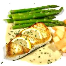 Baked Halibut with Tarragon Cream Sauce