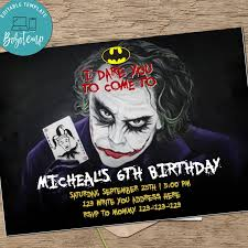 Invitacion De Fiesta De Cumpleanos De Batman Movie Joker Para