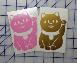 Lucky Cat Maneki Neko Beckoning Cat Stickers Vinyl Decal Etsy