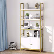 Tribesigns Gold Bookcase With Doors 4 Tier White Etagere Standard Bookshelf With Storage Cabinet Modern Book Shelves Display Shelf With Gold Metal Frame For Home Office White Walmart Com Walmart Com