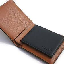 mens baseball stitch leather wallet