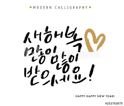 happy new year vector hand lettered korean quotes modern korean
