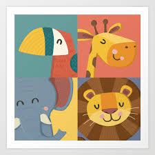Jungle Animals Wall Art Print Nursery Room Decor Children S Room Decor New Baby Gift Art Print By Britnicshop Society6