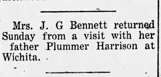 Addie Bennett visits father Plummer Harrison in Wichita - Newspapers.com
