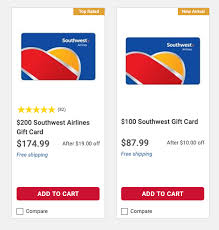 delta and southwest gift cards on