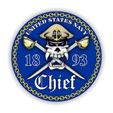 Usn Navy Chief Blue Background Vinyl Die Cut Decal Sticker 4 Sizes