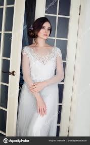 elegant woman makeup bridal hair white