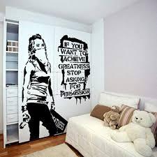 Amazon Com Aisufen Banksy Vinyl Wall Decal Want To Achieve Greatness Graffiti Street Art Sticker Vinyl Wall Stickers Decorative 140114cm Kitchen Dining