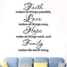 Amazon Com Anfigure Scripture Wall Decal Biblical Wall Decals Faith Makes All Things Possible Love Makes All Things Easy Hope Make All Things Work And Family Makes Life Worth Living Decor Stickers 19 X29 3