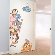 Shijuehezi Cats Wall Stickers For Kids Room Baby Bedroom Living Room Door Decoration Diy Animals Wall Decals Accessories Wall Stickers Aliexpress