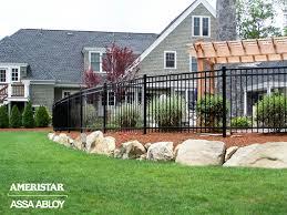 Backyard Fence Ideas Classic Black Wrought Iron Fence Ameristar Montage Modern Design In 2020 Backyard Fences Iron Fence Wrought Iron Fences