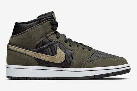 Air Jordan 1 Mid Shoes New Olive Green Color Release, Strong Military Wind