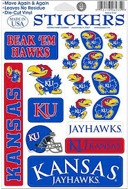 Amazon Com Kansas Jayhawks Vinyl Cling Stickers 18 Removeable Decals Ncaa Licensed Kitchen Dining
