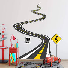 Vwaq Winding Road Wall Decals With Street Signs Stickers Peel And St