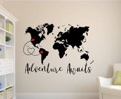 Adventure Awaits Decal World Map Decal Personalized Map Travel Wall Decal Adventure Wall Decal Adventure Adventure Wall Decor Adventure Wall Art Map Decal