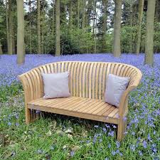 teak curved back bench love seat 2 seater