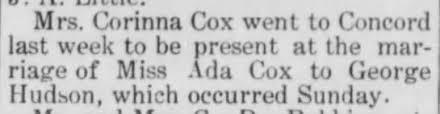 Corinna Cox at Ada's wedding. - Newspapers.com