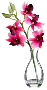 faux vanda orchid with glass vase 10
