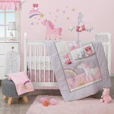 Rainbow Unicorn With Owl And Stars Pink Gold Wall Decals
