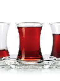 thin waist turkish tea cups for six