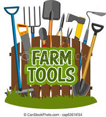 Farm Tools And Gardening Equipment Vector Gardening Tools Shop Agriculture Or Horticulture Equipment Near Fence Spade And