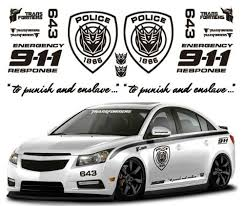 Ginovo Black Color Car Refitting 9 11 Police Transformers Car Sticker Decal For Mg6 K2 K5 Focus Cruze Lancer Maxsykesivww